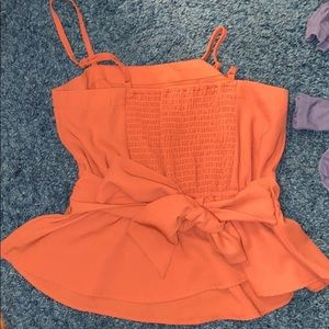 Orange tank top with tie in back